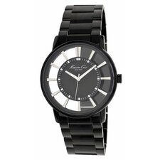 Men's Transparency Round Bracelets Watch in Gunmetal and Black