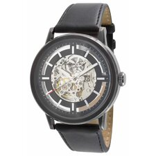 Men's Straps Automatics Round Watch in Gunmetal and Black