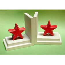 Red Star Bookends with Distressed White Base