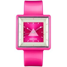 Square Ladies Watch with Hot Pink Band