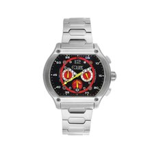 Dash Men's Watch with Silver Band and Black / Red Dial