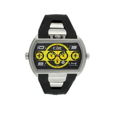 Dash XXL Men's Watch with Silver Case and Black / Yellow Dial