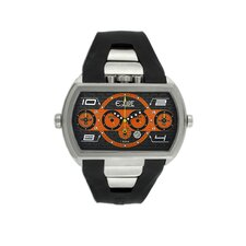 Dash XXL Men's Watch with Silver Case and Black / Orange Dial