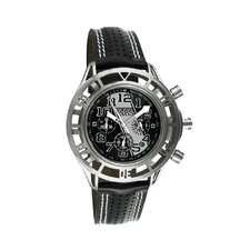Mustang Boss 302 Mens Watch with Satin Silver Case and Black Dial