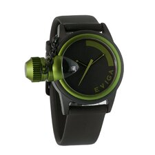 Bulletor Men's Watch in Black with Green Bezel