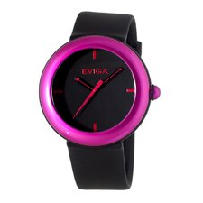 Cirkle Men's Watch in Black with Hot Pink Bezel