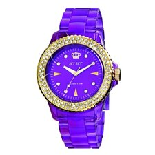 <strong>Jet Set</strong> Addiction Ladies Watch in Polished Purple with Gold Bezel