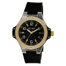 Cannes Watch with Black Band and Gold Crystal Case