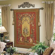Handwoven Red Cherubs Floral Tapestry