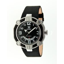 Snowest Circular Men's Watch with Black Nylon Band and Black Dial