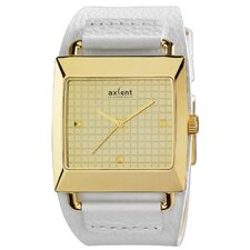 Loud Men's Watch with White Band and Gold Case