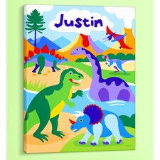 <strong>Olive Kids</strong> Dinosaur Land Personalized Canvas Art