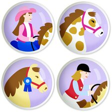 Patchwork Ponies Round Knob (Set of 4)