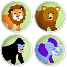 Wild Animals Round Knob (Set of 4)