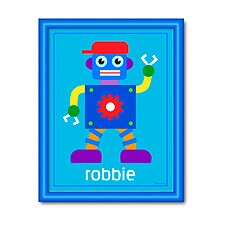 Robots Little Personalized Framed Art