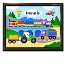 Trains, Planes and Trucks Personalized Framed Art