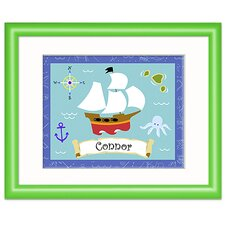 Pirates Personalized Print with Green Frame
