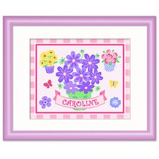 Butterflies and Blossoms Personalized Print with Lilac Frame