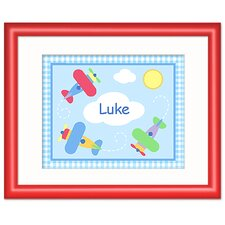 Up and Away Personalized Print with Red Frame