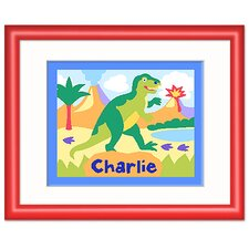 Dinosaur Land Personalized Print with Red Frame