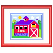 Country Farm Personalized Print with Red Frame
