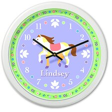 "<strong>Olive Kids</strong> Patchwork Ponies 12"" Personalized Wall Clock"