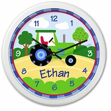 "Trains, Planes and Trucks 12"" Personalized Wall Clock"