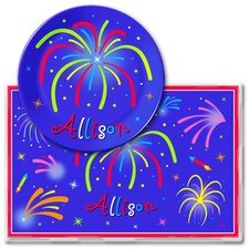 4th of July Fireworks Personalized Meal Time Plate Set