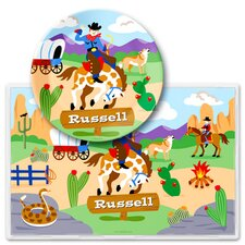 Ride 'em Personalized Meal Time Plate Set