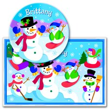 Winter Snowman Personalized Meal Time Plate Set