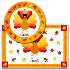 Thanksgiving Turkey Personalized Meal Time Plate Set