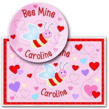 Valentine's Day Bee Mine Personalized Meal Time Plate Set
