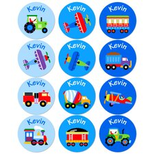 Trains, Planes and Trucks Personalized Stickers (Set of 60)