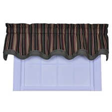 Montego Stripe Bradford Cotton Rod Pocket Scalloped Curtain Valance