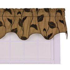 <strong>Ellis Curtain</strong> Riviera Cotton Blend Large Scale Leaf and Vine Lined Duchess Filler Window Curtain Valance