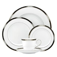 Hancock Platinum White 5 Piece Place Setting