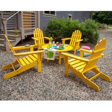<strong>POLYWOOD®</strong> Classic Folding Conversation 5 Piece Adirondack Seating Group