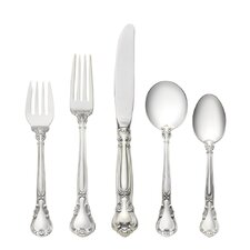 Chantilly 5 Piece Flatware Set with Cream Soup Spoon and Chest