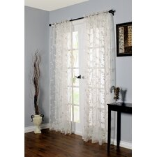 Embroidered Rod Pocket Sheer Curtain Single Panel