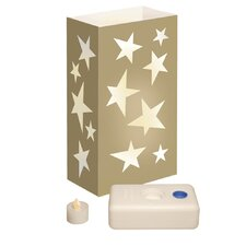 <strong>Luminarias</strong> 12 Count Battery Operated Luminary Kit with Gold Stars Design