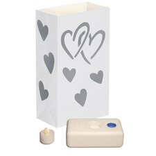 <strong>Luminarias</strong> 12 Count Battery Operated Luminary Kit with Silver Hearts Design