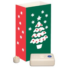 <strong>Luminarias</strong> 12 Count Battery Operated Luminary Kit with Christmas Tree Design