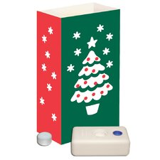 Christmas 12 Count Tree Candle Luminaria Kit (Set of 12)