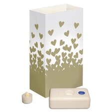 <strong>Luminarias</strong> Gold Hearts Battery Operated Luminaria Kit (Set of 12)
