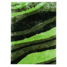 Flash Shaggy Green Abstract Wave Rug