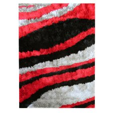 Flash Shaggy Red Abstract Wave Rug
