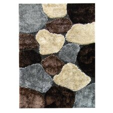 Flash Shaggy Chocolate Abstract Color Block Rug