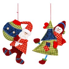 2 Piece Santa and Snowman Hang Set