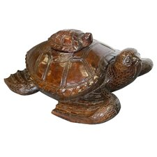 Solid Wood Stacking Turtles Statue