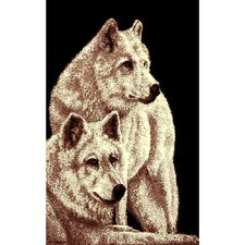 African Adventure 2 Wolves Novelty Rug